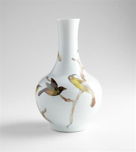 Large White Ceramic Vase by Large White Ceramic Bird Vase By Cyan Design