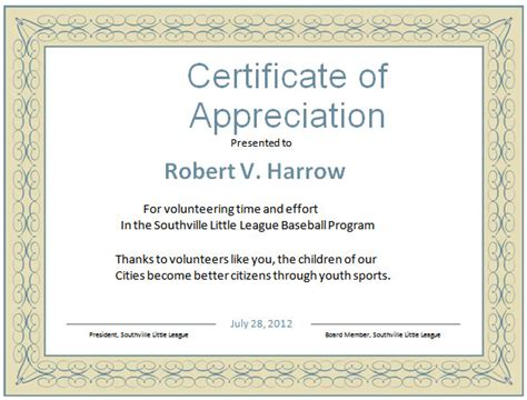 volunteer certificate of appreciation template word certificate template 44 free sles