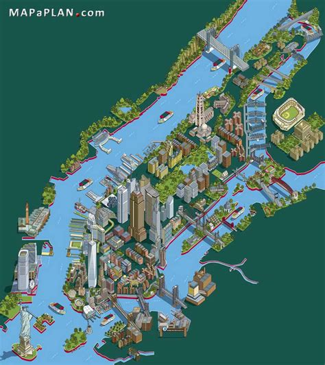 map of new york city landmarks maps of new york top tourist attractions free printable