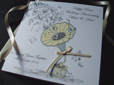 Handmade Pearl Anniversary Cards - pearl gramophone wedding anniversary card handmade cards