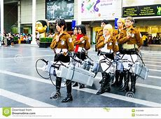 Cosplayer As Characters From Attack On Titan. Editorial ... Attack On Titan Levi Salute