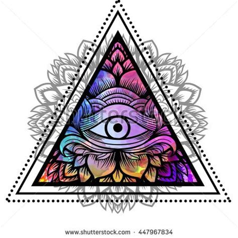 third eye floral mandala inside triangle stock vector