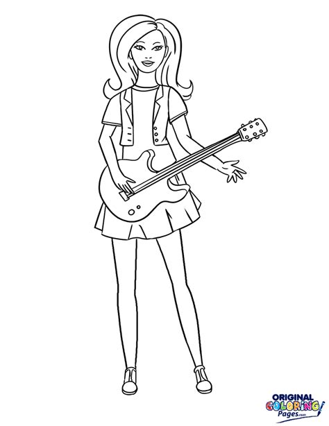 90 coloring pages barbie rockstar rock star