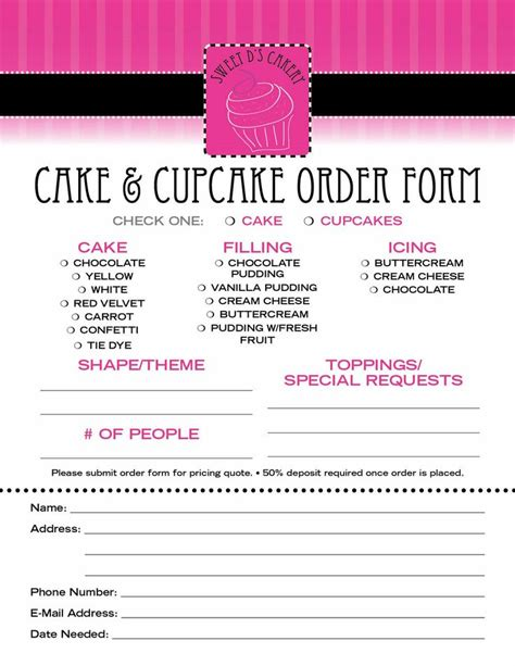 Cake Order by 23 Best Cake Order Forms Images On Bakery
