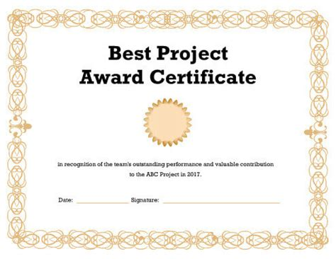 best certificate templates best project award certificate template pdf