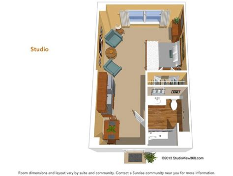 Efficiency Apartment Floor Plans by Floor Plans Suites Amp Studios Sunrise Senior Living