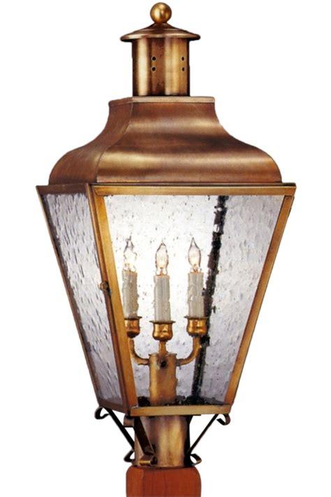 copper l post lantern portland colonial copper lantern electric post light head