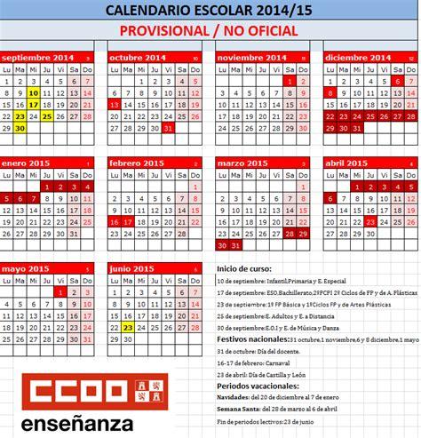Calendario Escolar Aragon Curso 2014 15 Sindicato De Ense 209 Anza Ccoo Le 211 N Calendario Escolar
