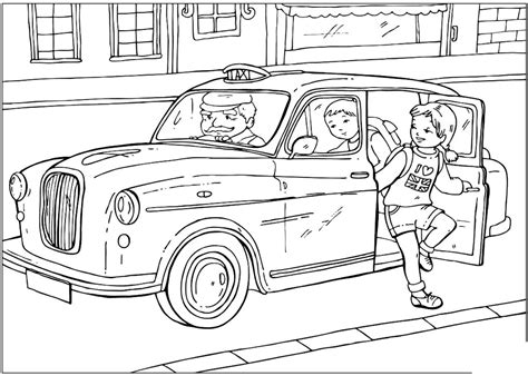 coloring page british taxi