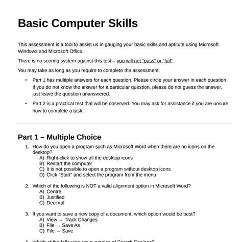 basic computer skills assessment 1407 pdf docdroid