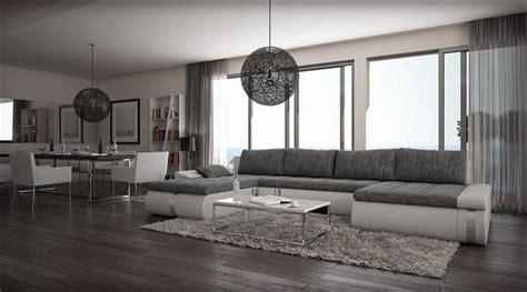 wohnzimmer gestalten grau weiss kasper wohndesign designer ecksofa kunstleder weiss stoff