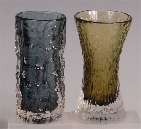 a whitefriars glass bark vase by geoffrey baxter pewter
