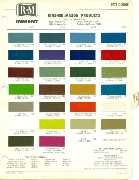 dodge paint colors dodge car exterior and interior colors for year 1969