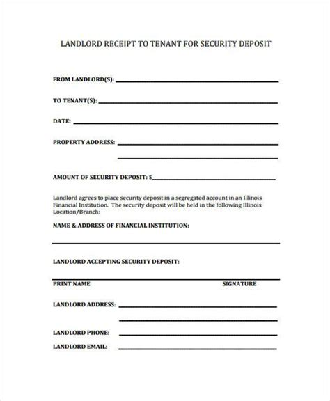 Security Deposit Receipt Template Uk by Receipt Form In Pdf
