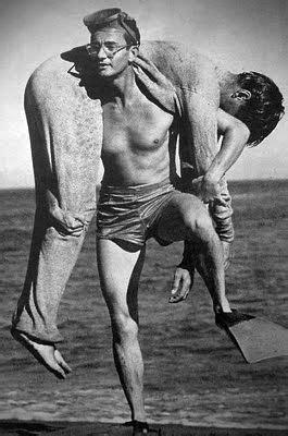 Wally Cox carrying Marlon Brando on the beach?   Special