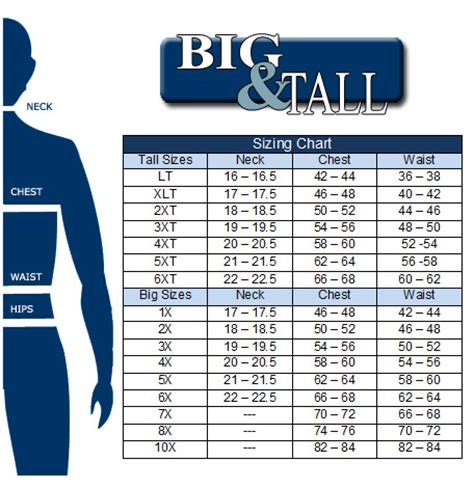 what stores have big and tall sections mens big and tall shirt size chart