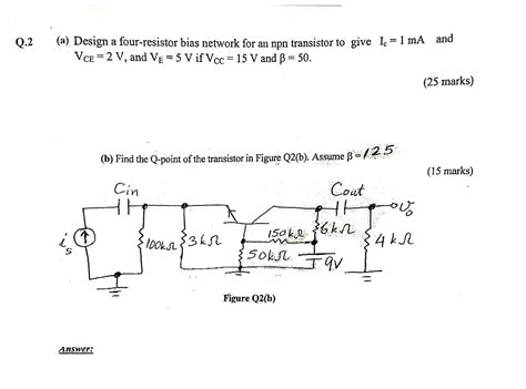4 resistor bias network design a four resistor bias network for an npn tra chegg