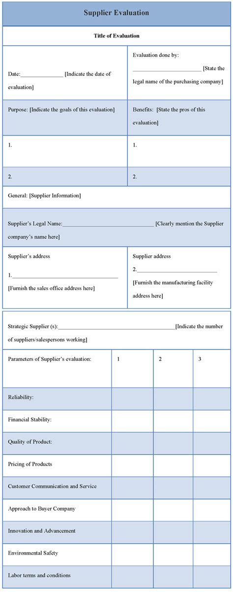 evaluation template for supplier template of supplier