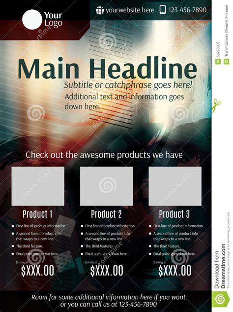 product flyer template grunge product flyer or poster template stock vector