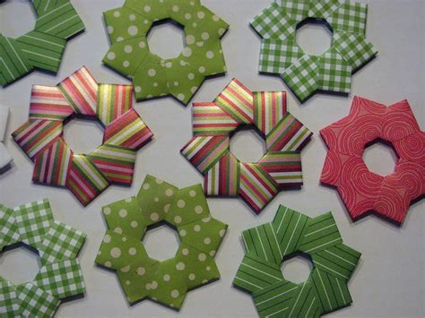 Origami wreath christmas tree ornaments 3 set of by rapportcards