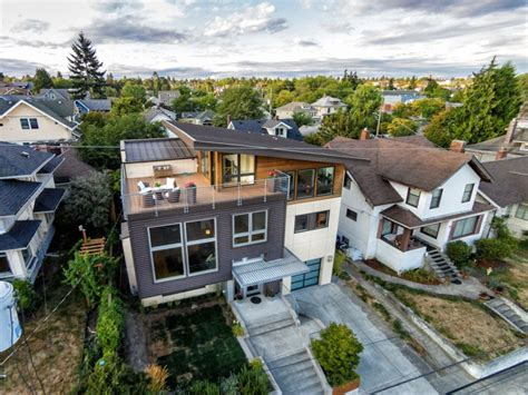 Ballard Designs Office contemporary split level house with views of downtown