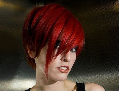 red asymmetrical cropped hairstyle party summer everyday careforhaircouk