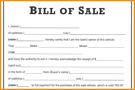 Templates For Bill O Sale Receipt by Bill Of Sale Receipt Viqoo Club