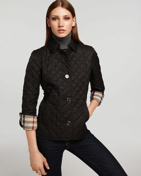 Burberry Black Quilted Jacket by Burberry Brit Fitted Quilted Jacket In Black Lyst