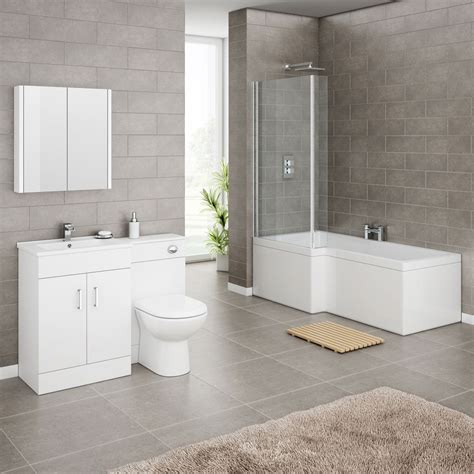 Shower Bath Bathroom Suites Turin High Gloss White Vanity Unit Bathroom Suite With Square Shower Bath Screen At