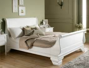 White Sleigh Bed Bordeaux Style White Wooden Sleigh Bed King Size Bed Frame Only