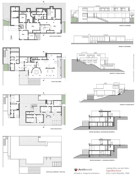 Barcelona Pavilion Floor Plan Tugendhat House Drawings Plan