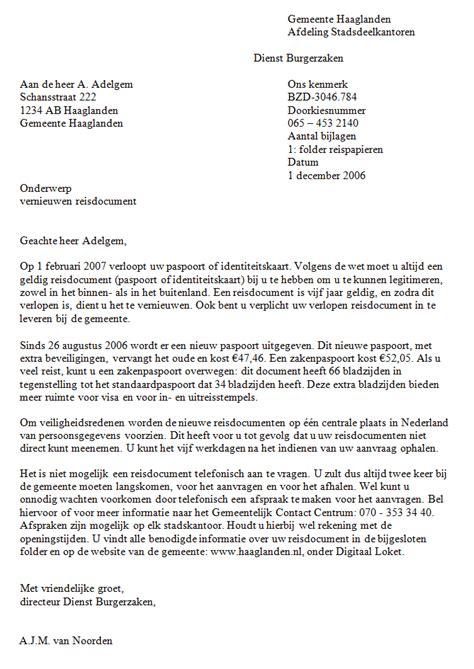 brief aanvraag tweede paspoort voorbeeld 2 schrijfwijzer nl