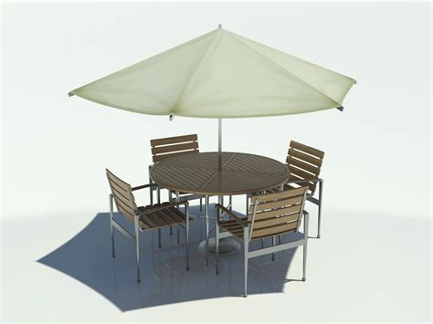 Patio Table With Umbrella And Chairs Outdoor Table Chair Umbrella 3d Max