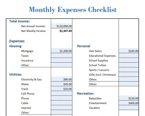 list of household expenses template 28 images 19