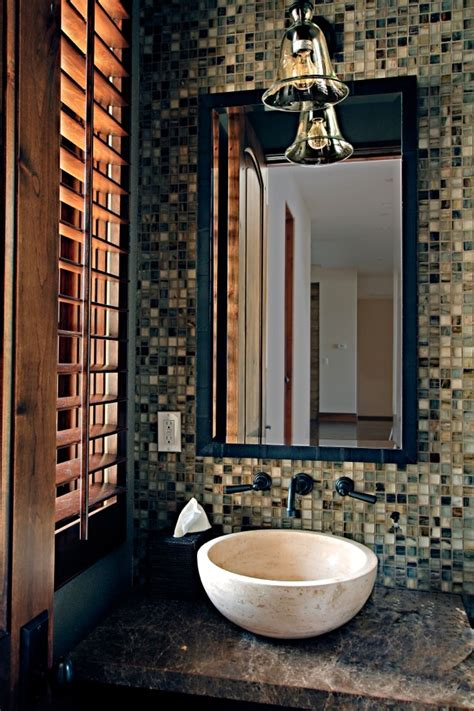 Small Sink Powder Room - powder room with mosaic tile feature wall and a natural stone vessel sink both available at