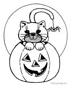 halloween coloring cat spider pumpkin