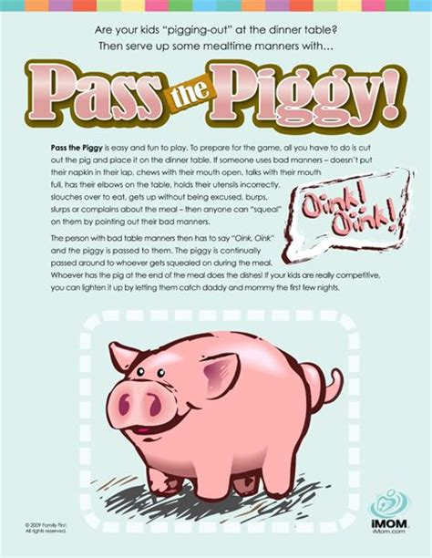 printable games for one person teaching table manners pass the piggy manners pinterest
