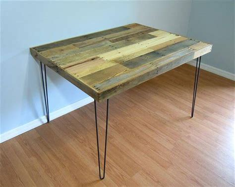 diy pallet dining table steel legs pallet furniture diy