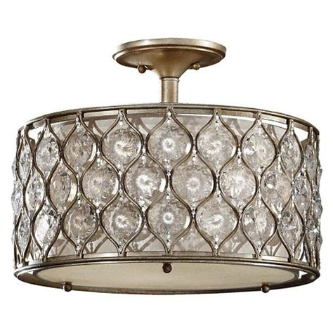 Beige Drum L Shade by Feiss Three Light Burnished Silver Beige Fabric Shade Drum