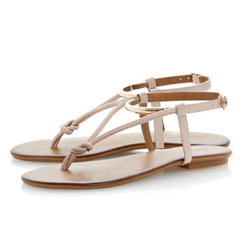 flat buckle sandals dune jasyz leather flat buckle sandals in beige lyst