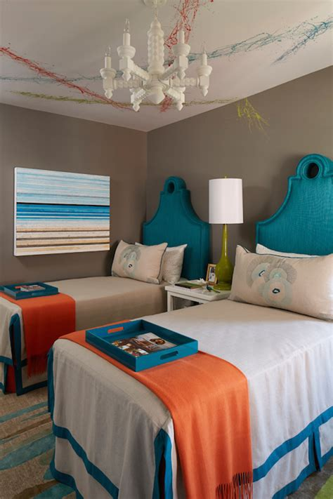 turquoise and orange bedroom turquoise keyhole headboards contemporary bedroom c2