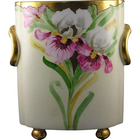 h c heinrich co h co selb bavaria iris motif cachepot