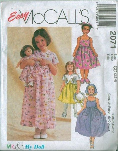 pattern matching clothes girl s child s oufit plus matching doll clothes sewing