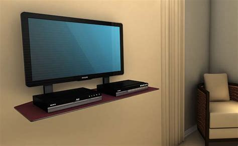 Tv Components Shelf by Cambre Sky Shelf Wide Wood Wall Mounted Component