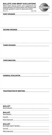 forms and templates toastmasters for texas central ballots and brief evaluations set of 250