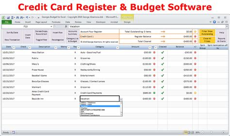 credit card budget template excel excel budget spreadsheet and checkbook register software