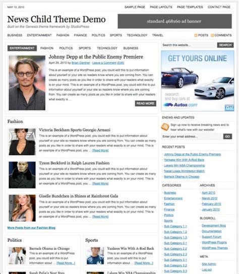 theme newspaper demo studiopress news child theme download dobeweb