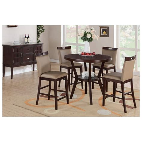 counter height table with upholstered chairs 5 pc espresso finish wood counter height dining