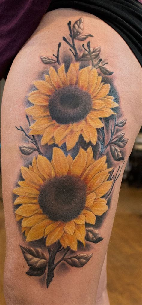 sunflower thigh tattoo sunflower thigh done by kautz sunflowertattoo