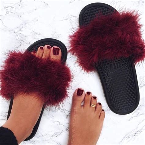furry house shoes shoes slide shoes fluffy burgundy shoes burgundy nike slippers slide shoes